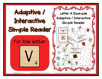 Adapted Interactive Beginning Reader for the letter V - 21 Picture Words