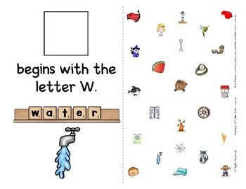 Adapted Interactive Beginning Reader for the letter W - 23 Picture Words