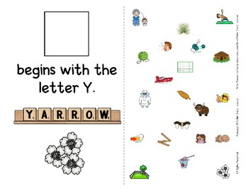 Adapted Interactive Beginning Reader for the letter Y - 21 Picture Words