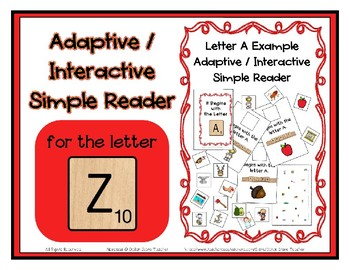 Adapted Interactive Beginning Reader for the letter Z - 21 Picture Words