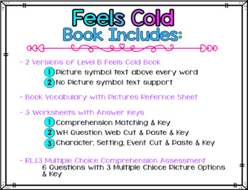 Adapted Level B (Feels Cold) Book Unit & Comprehension (Autism / SPED / ELL)