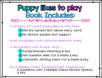 Adapted Level B (Puppy Likes to Play) Book Unit & Comprehension (Autism / SPED)