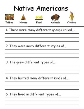 Adapted Native American Worksheet