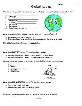 Adapted Note-taking worksheet for Global Issues powerpoint