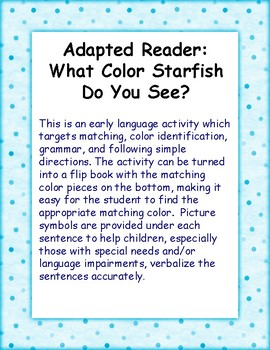 Adapted Book: What Color Starfish Do You See?