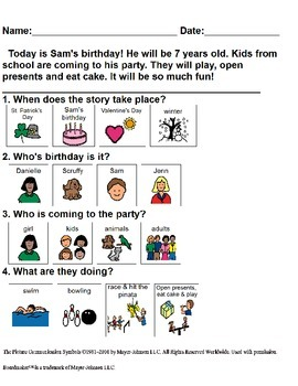 Adapted Reading Comprehension for Autism #3