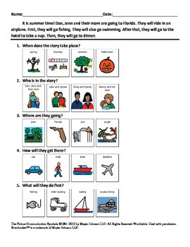Adapted Reading Comprehension for Autism #4 with visuals