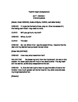 Adapted Script of Shakespeare's Comedy Twelfth Night