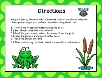 Spring Frog Pond Adapted Book Wh Questions (Who and What)