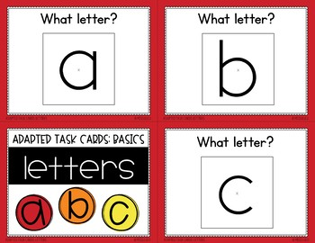 Adapted Task Cards Basics: Letters