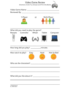 Adapted Video Game Review Sheet