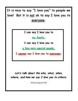 "Adapted Work Packet: When Can I Say ""I love you""?"