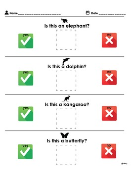 Adapted Yes/No Worksheet For Students With Autism