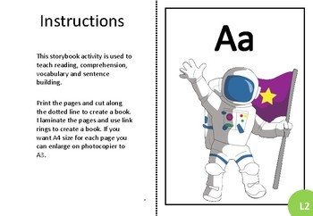 Adapted book alphabet sample Aa Level 2