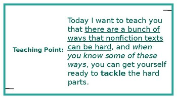 Adapted from Lucy Calkins Informational Reading- 4th Grade Unit 2 - Session 4