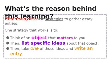 Adapted from Lucy Calkins Opinion 4th Grade Unit 2 - Session 2 - day 3 - OBJECTS