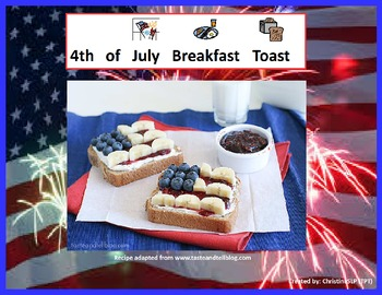 Adapted cooking recipe - 4th of July Breakfast Toast
