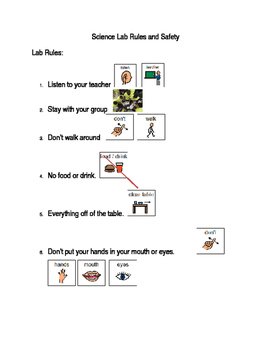 Adapted science lab rules and expectations