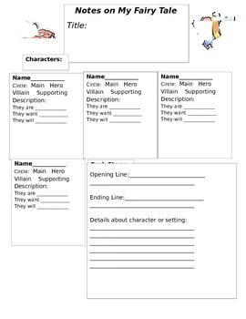 Adapting Fairy Tale Writing Graphic Organizer