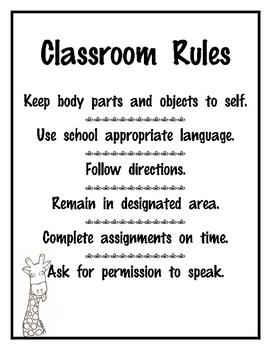 Adaptive Behavior Classroom Rules