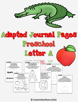 Adaptive Journal Pages for Students with Autism Letter A- Easy Prep!
