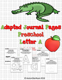 Adaptive Journal Pages for Students with Autism Letter A-