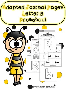 Adaptive Journal Pages for Students with Autism Letter B- Easy Prep!