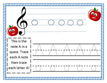 Adaptive Music Worksheet- FACE Tracing