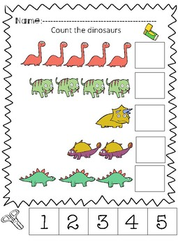 adaptive or print and go dinosaur themed cut and paste counting book. Black Bedroom Furniture Sets. Home Design Ideas