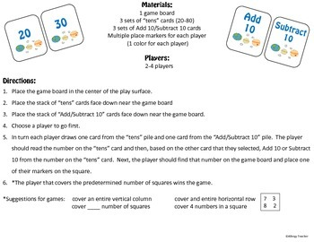 Add 10 Subtract 10 Math Game