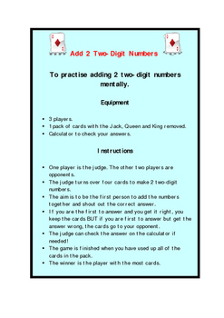 Add 2 Two-Digit Numbers Card Game