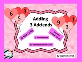 Add 3 Addends --- Balloons for Valentine's Day