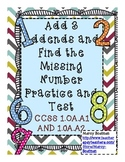 Add 3 Numbers and Find the Missing Number Practice and Test