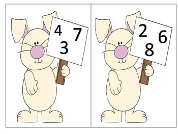 Add 3 Single Digit Addends--whole group, task cards, worksheets--Easter
