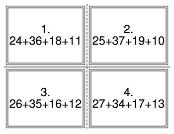 Add 4 2 Digit Numbers TEKS 2.4B Task Cards
