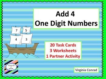 Add 4 One Digit Addends--Thanksgiving Theme