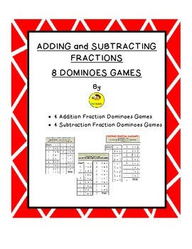 Add AND Subtract Fractions Domino Games Combo