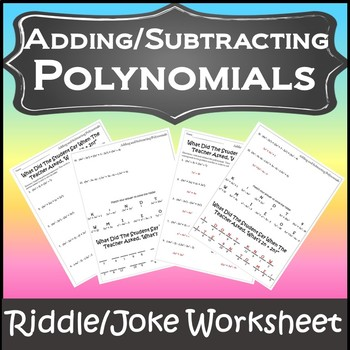 Adding And Subtracting Polynomials Activity Teaching Resources