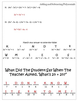 Adding & Subtracting Polynomials Activity Worksheet {Operations with Polynomials