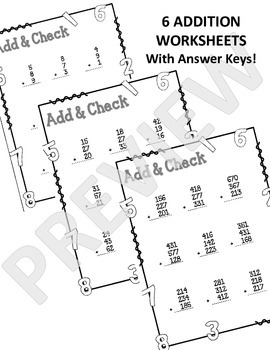 Add & Check. Addition Worksheet. 1 to 3 Digit Addition.