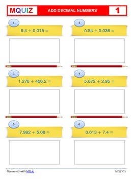 Add Decimal Numbers (Multiple Decimals) - Open Ended