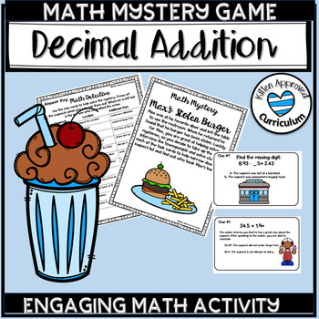 Decimal Addition and Subtraction Math Mystery Game