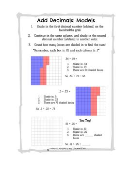 Add Decimals: Models and Algorithm