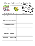 Add Decimals- Money Math Activity- Math Center