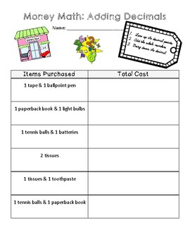 Add Decimals- Money Math Activity- Math Center