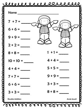 Addition Facts Doubles Sums 20 or Less for Kindergarten and 1st Grade