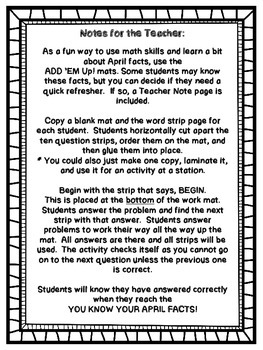 Add 'Em Up! Math Activity (April Edition)