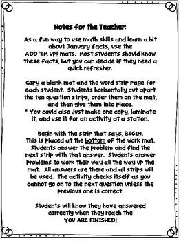 Add 'Em Up! Math Activity (January Edition)