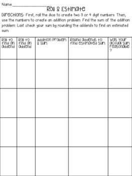 Roll, Add, & Estimate to Check!