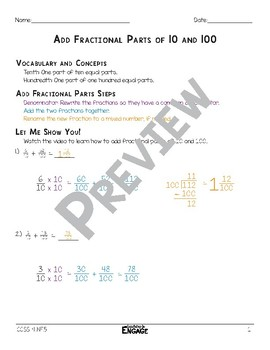 Add Fractional Parts of 10 and 100 Math Video and Worksheet